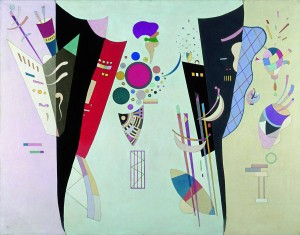 "Kandinsky's last large painting, ""Reciprocal Accord."" One of the pieces I reference obliquely in ""Kandinsky's Galaxy."""