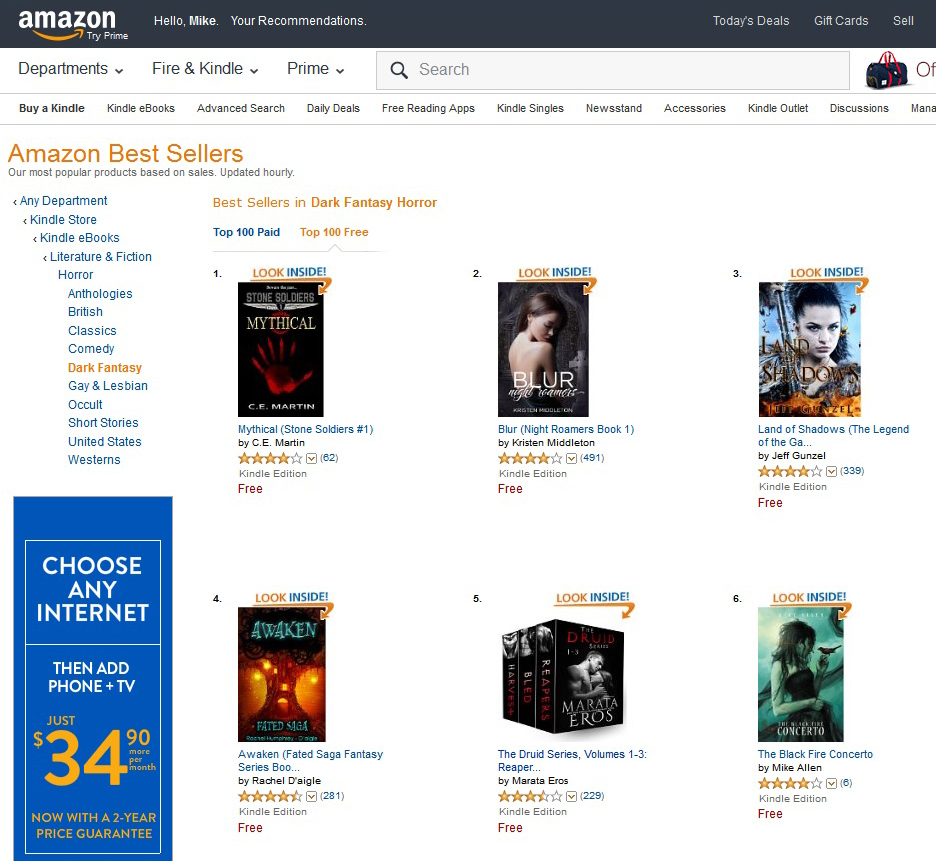 "The Black Fire Concerto breaks ""Top 6"" in ""Dark Fantasy Horror"" and ""Science Fiction Dystopian"""